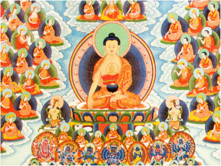 Refuge tree with Buddha Shakyamuni